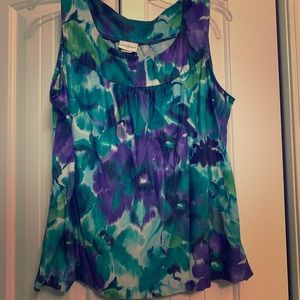 Purple and teal floral tank top